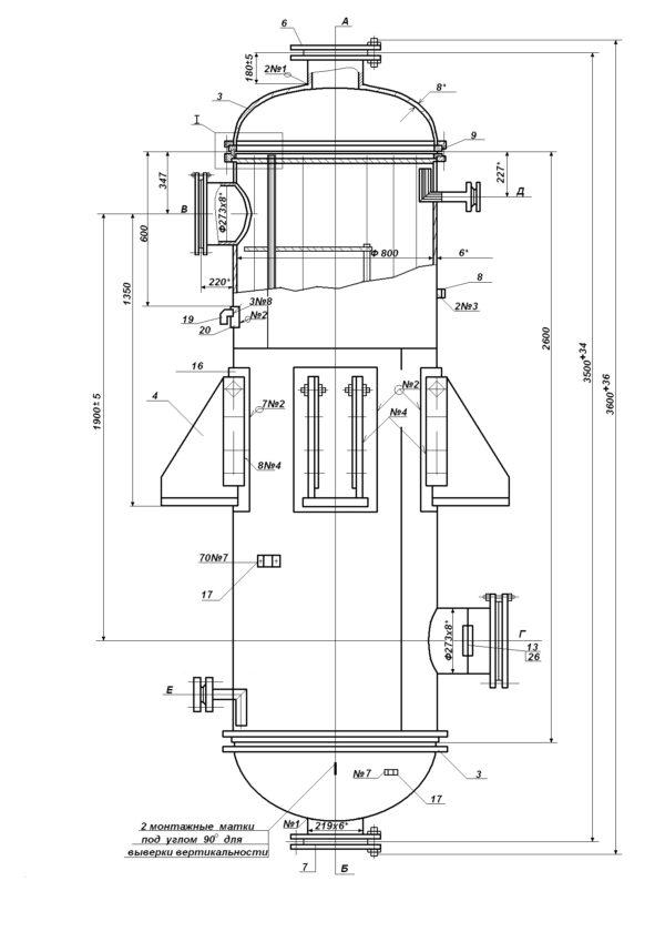 Теплообменник 800 Т.Н.В.-1-6-6-МТ20-38-2,5-1